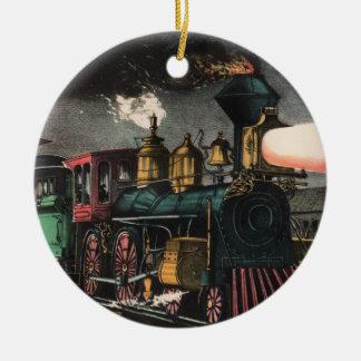 El ornamento expreso de la noche adorno navideño redondo de cerámica