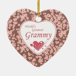 El ornamento grammy más grande de las flores de adorno de cerámica en forma de corazón