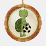 El ornamento más grande del jugador de fútbol de adorno redondo de cerámica