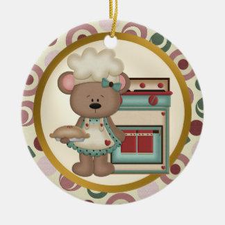 El ornamento más grande del panadero del mundo adorno navideño redondo de cerámica