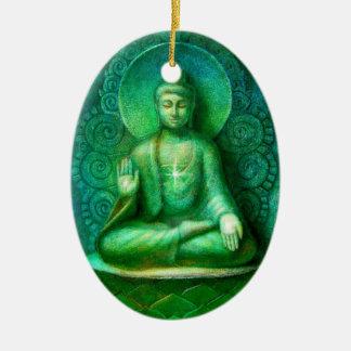 El ornamento oval verde del navidad de Buda Adorno Ovalado De Cerámica