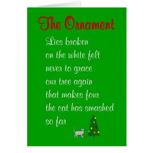 El ornamento - un poema divertido del navidad tarjeta de felicitación