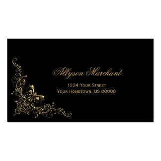 El oro adornado elegante remolina en negro tarjetas de visita