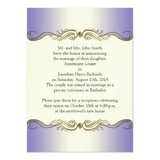 El oro adornado púrpura de la lavanda enrolla el invitación 13,9 x 19,0 cm