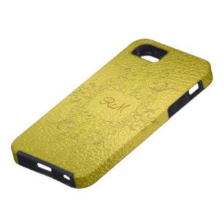 El oro amarillo entona el Modelo-Monograma del vit iPhone 5 Carcasas