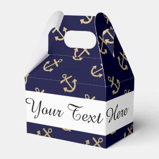 El oro ancla el modelo del fondo de los azules cajas para regalos de fiestas