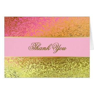 El oro atractivo y el boda rosado le agradecen tarjeta pequeña
