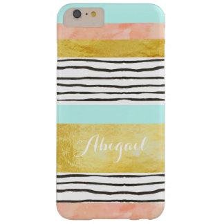 El oro azul coralino raya el iPhone 6/6s más el Funda De iPhone 6 Plus Barely There