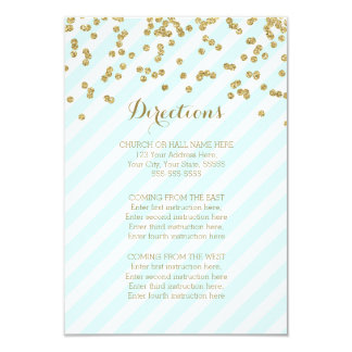 """El oro azul raya tarjetas de la dirección del boda invitación 3.5"""" x 5"""""""