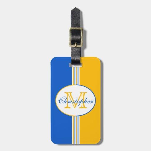 El oro blanco azul raya el monograma etiquetas de maletas