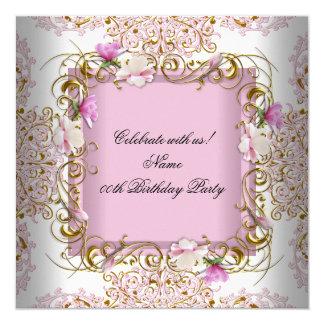 El oro blanco rosado del damasco florece a la invitación 13,3 cm x 13,3cm