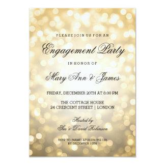 El oro Bokeh enciende al fiesta de compromiso Invitaciones Personalizada