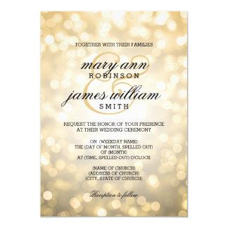 """El oro Bokeh enciende el boda elegante Invitación 5"""" X 7"""""""