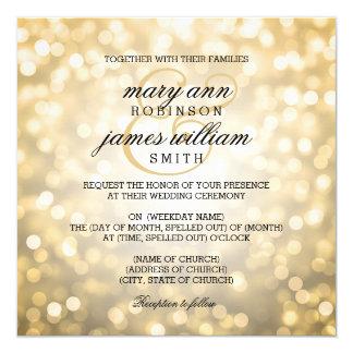 """El oro Bokeh enciende el boda elegante Invitación 5.25"""" X 5.25"""""""