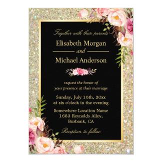"""El oro brillante moderno chispea boda floral invitación 5"""" x 7"""""""