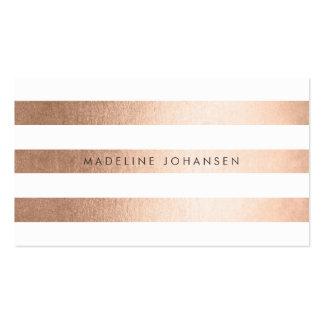 El oro color de rosa raya tarjetas de visita del