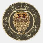 El oro con clase Jewels a los pegatinas del búho Etiquetas Redondas