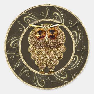 El oro con clase Jewels a los pegatinas del búho Pegatina Redonda