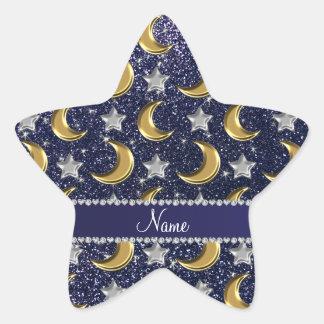El oro conocido del brillo de los azules marinos pegatina en forma de estrella