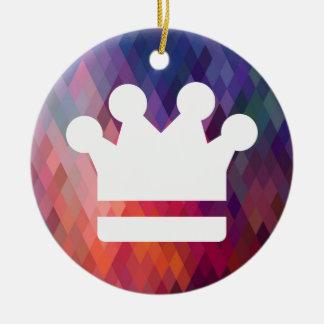 El oro corona el icono adorno redondo de cerámica