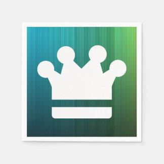 El oro corona el icono servilleta desechable