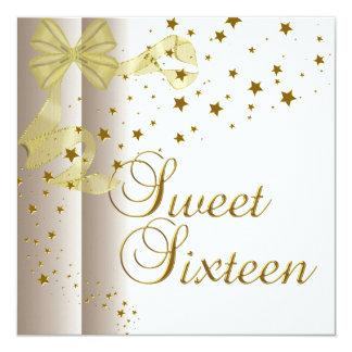 """El oro de la fiesta de cumpleaños 16 del dulce invitación 5.25"""" x 5.25"""""""