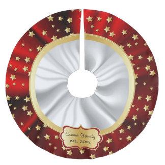 El oro de las Felices Navidad protagoniza el fondo Falda Para Arbol De Navidad De Poliéster