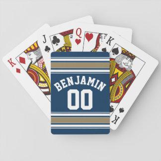 El oro de los azules marinos del jersey del fútbol baraja de póquer