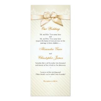 El oro de marfil de la cinta raya la invitación S4