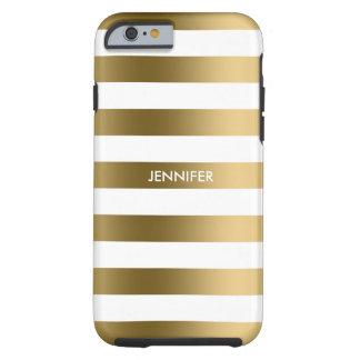 El oro de Monogramed raya el fondo blanco Funda De iPhone 6 Tough