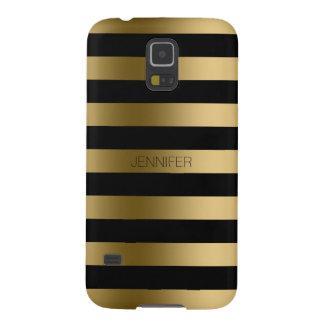 El oro de Monogramed raya el fondo negro Carcasa De Galaxy S5