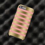 El oro de Monogramed raya el fondo rosado Funda De iPhone 6 Tough