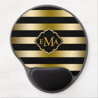 El oro de Monogramed raya el modelo geométrico Alfombrilla Gel