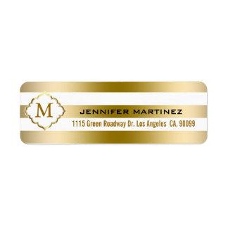 El oro de Monogramed raya el modelo geométrico Etiqueta De Remitente