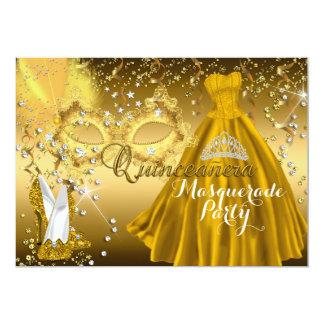 """El oro de Quinceanera de la mascarada de la Invitación 5"""" X 7"""""""