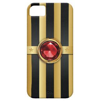 El oro de rubíes de lujo de la piedra preciosa iPhone 5 fundas