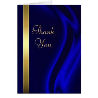 El oro de seda azul del marqués le agradece tarjeta pequeña