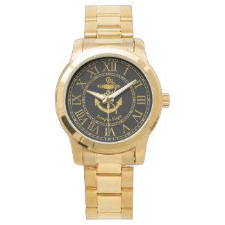 El oro del ancla personaliza relojes de pulsera