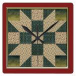 El oro del bloque del edredón del remiendo de la e reloj de pared