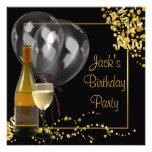 El oro del cristal de botellas de vino negro sirve invitaciones personales