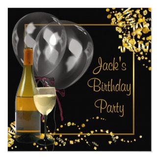 """El oro del cristal de botellas de vino negro sirve invitación 5.25"""" x 5.25"""""""
