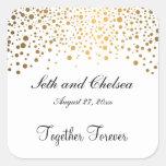 El oro del día de boda puntea el | personaliza pegatina cuadrada