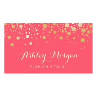 El oro del encanto puntea la decoración - coral tarjetas de visita