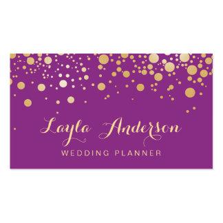 El oro del encanto puntea la decoración - púrpura tarjetas de visita