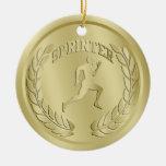 El oro del esprinter entonó el ornamento de la med ornamento para arbol de navidad