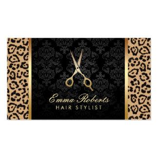 El oro del estilista Scissor el estampado leopardo Tarjetas De Visita