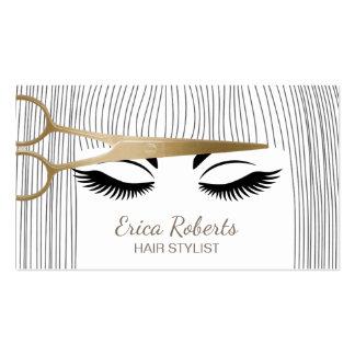 El oro del estilista Scissor y el salón de pelo Tarjetas De Visita