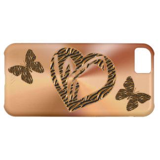 el oro del iPhone 5C encajona el corazón y maripos Funda Para iPhone 5C