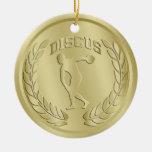 El oro del lanzador de disco entonó el ornamento d ornamento para arbol de navidad