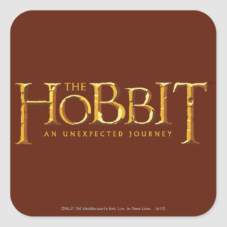 El oro del logotipo de Hobbit Pegatinas Cuadradas